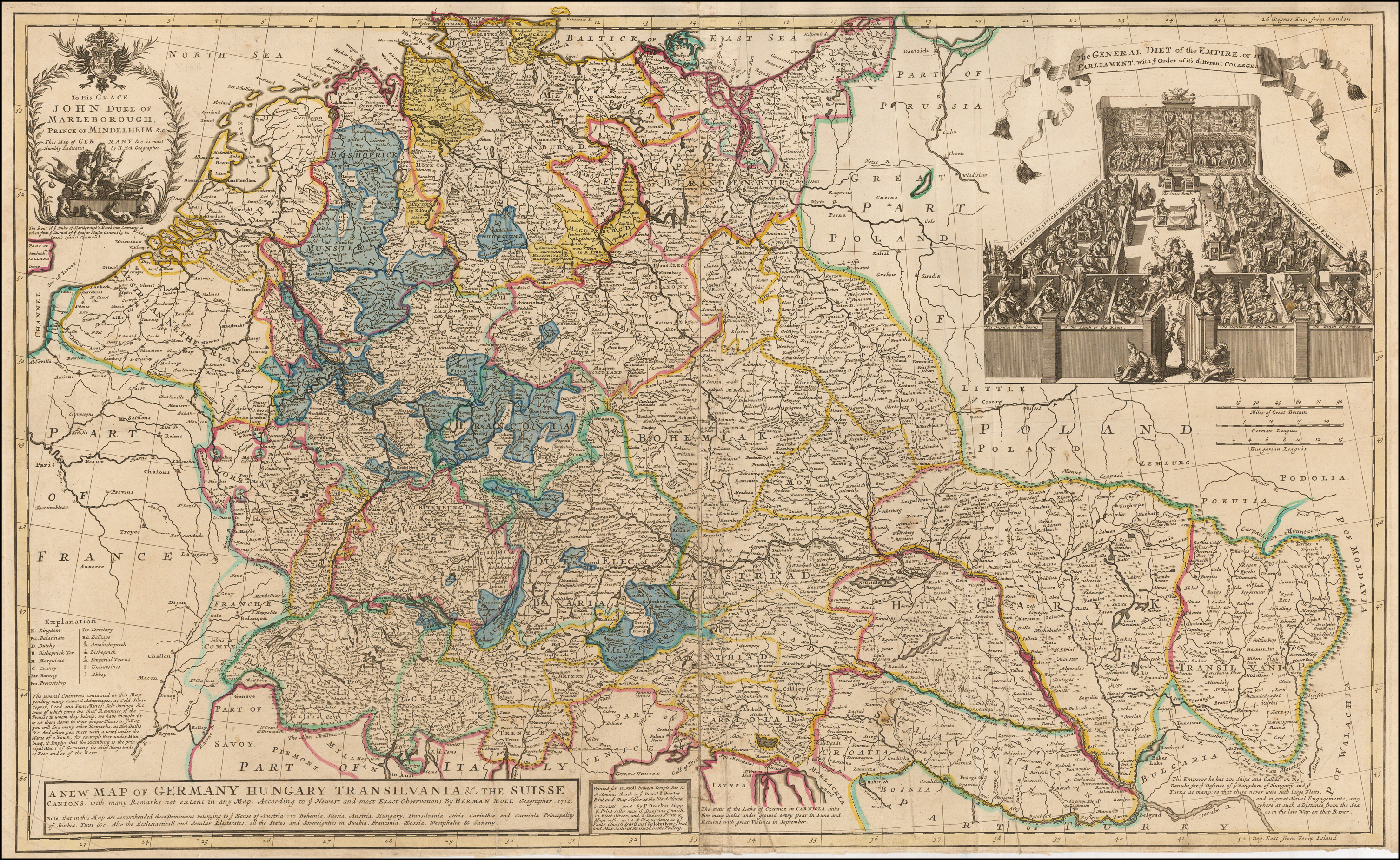Map Of Germany And Hungary.A New Map Of Germany Hungary Transilvania The Suisse Cantons