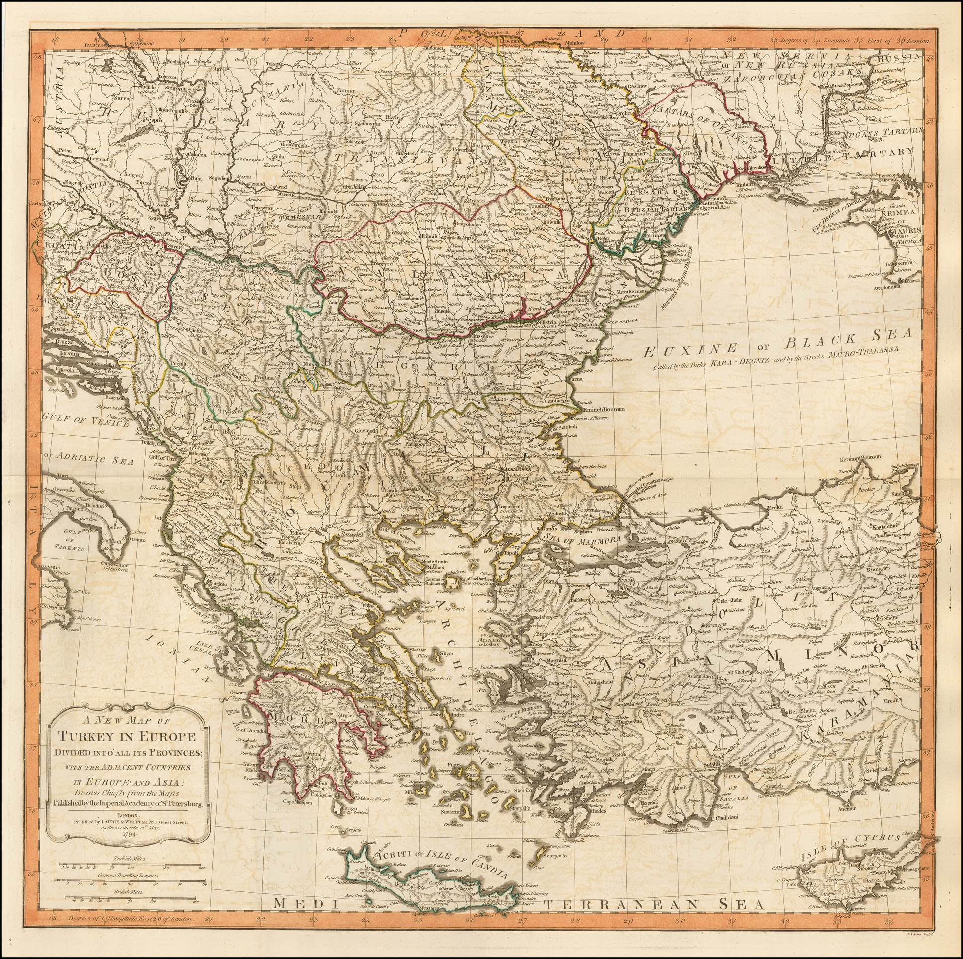 Image of: A New Map Of Turkey In Europe Divided Into All Its Provinces With The Adjacent Countries Of Europe And Asia 1794 Shows Cyprus Barry Lawrence Ruderman Antique Maps Inc