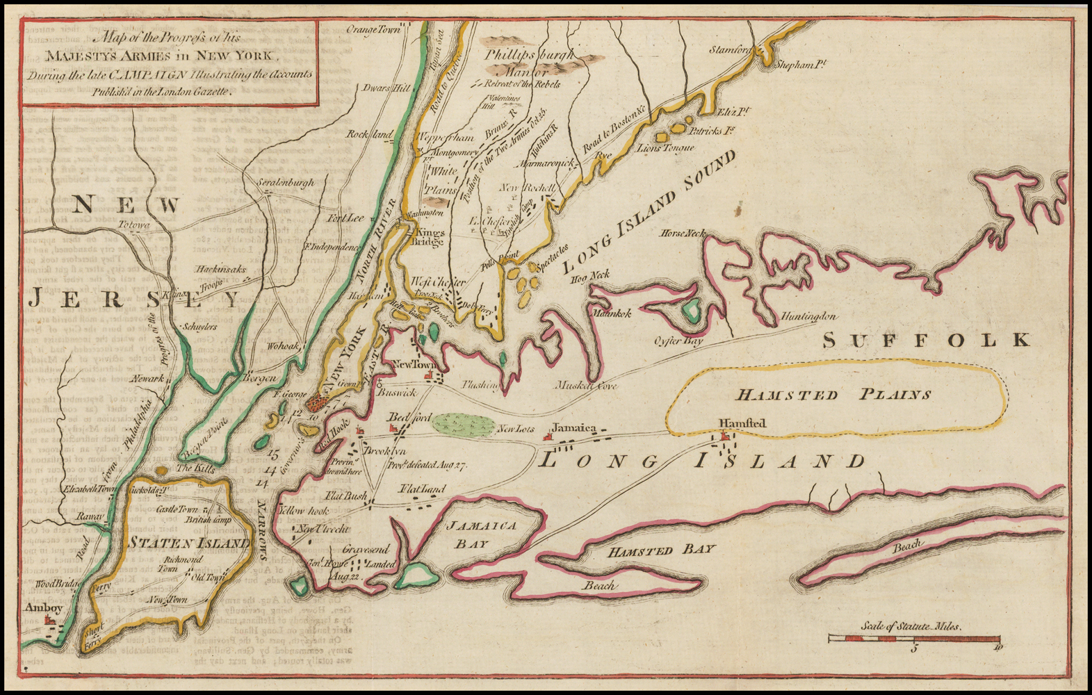 Map Of New York Revolutionary War.Map Of The Progress Of His Majesty S Armies In New York During The