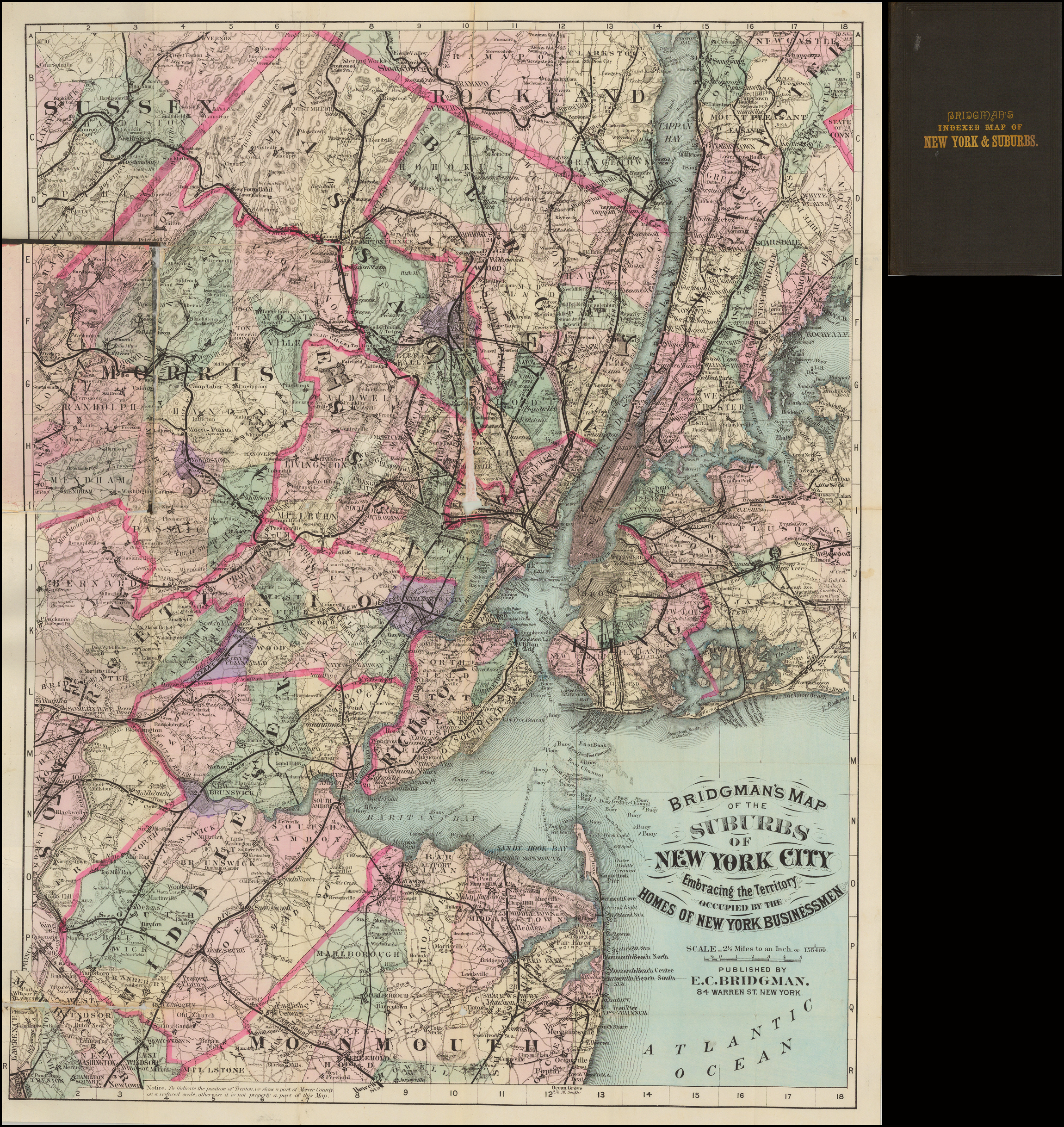 Bridgman U0026 39 S Map Of The Suburbs Of New York City Embracing The Territory Occupied By The Homes Of