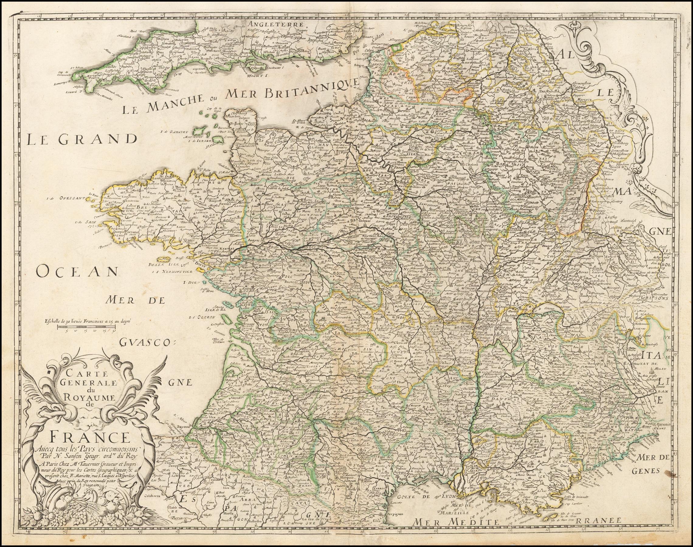 Carte générale du royaume de France avecq tous les pays circonvoisins... 1658 - Barry Lawrence ...