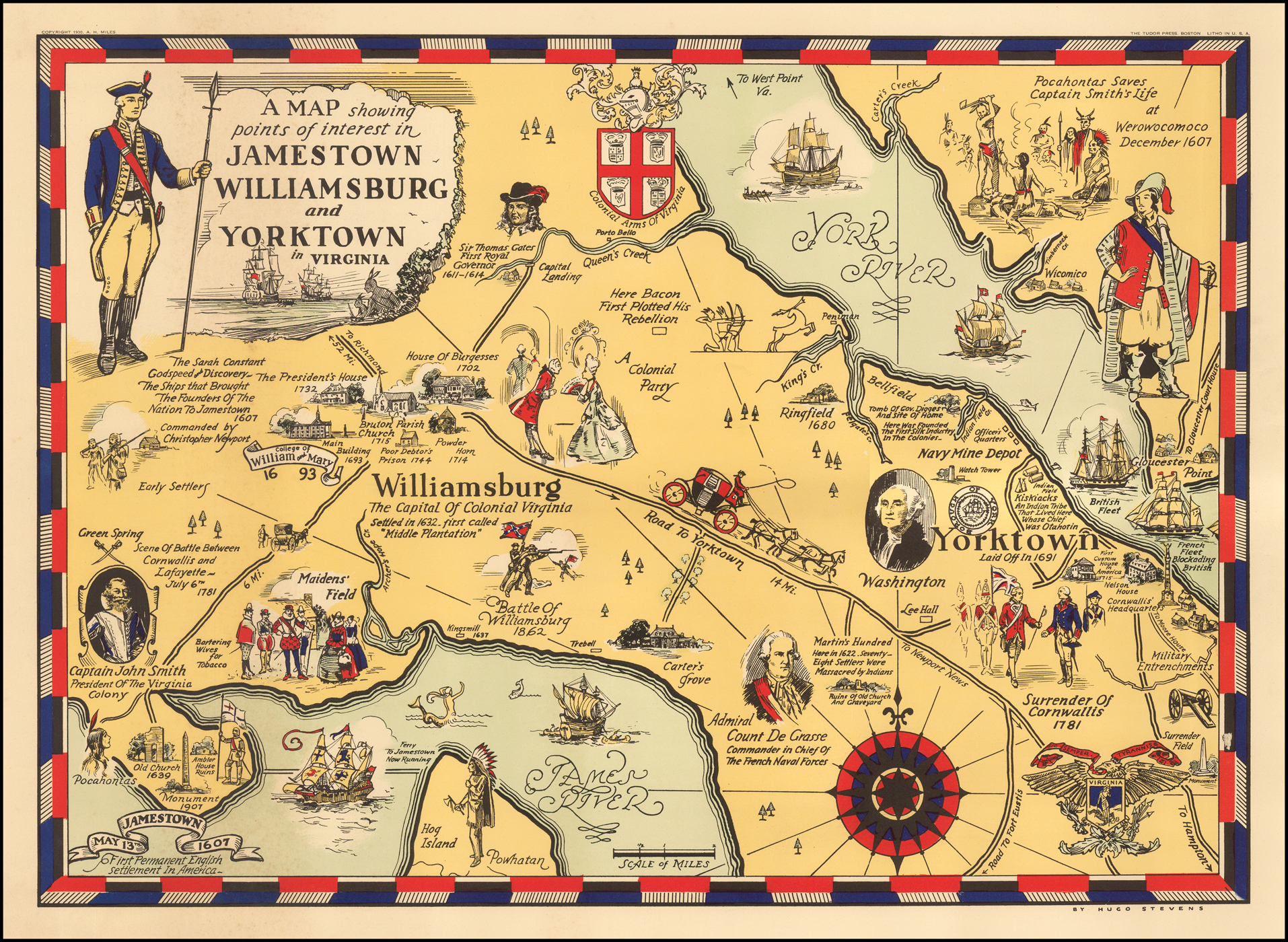 Map Of Yorktown Tx.A Map Showing Points Of Interest In Jamestown Williamsburg And