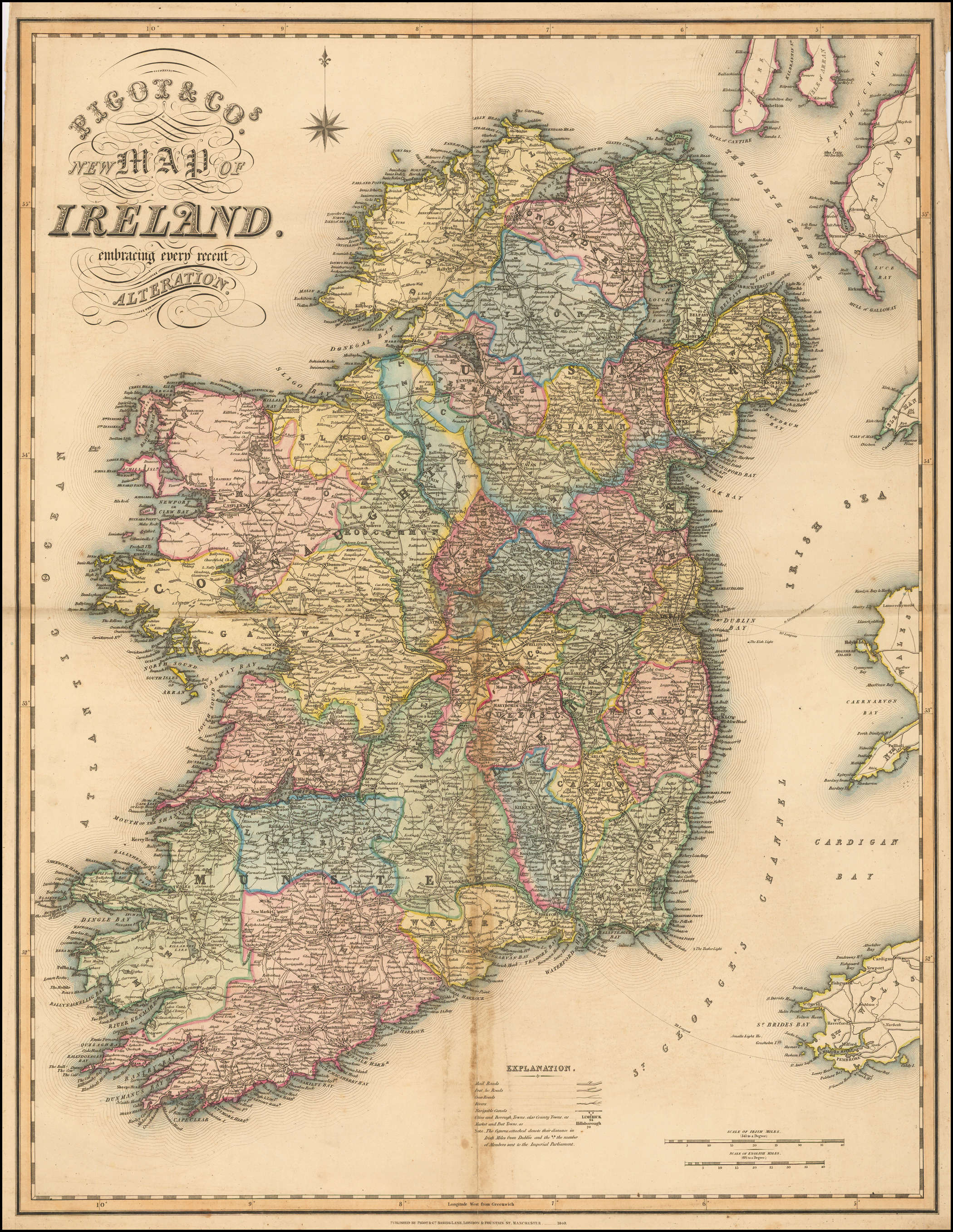 Images Of Map Of Ireland.Pigot Cos New Map Of Ireland Embracing Every Recent Alteration