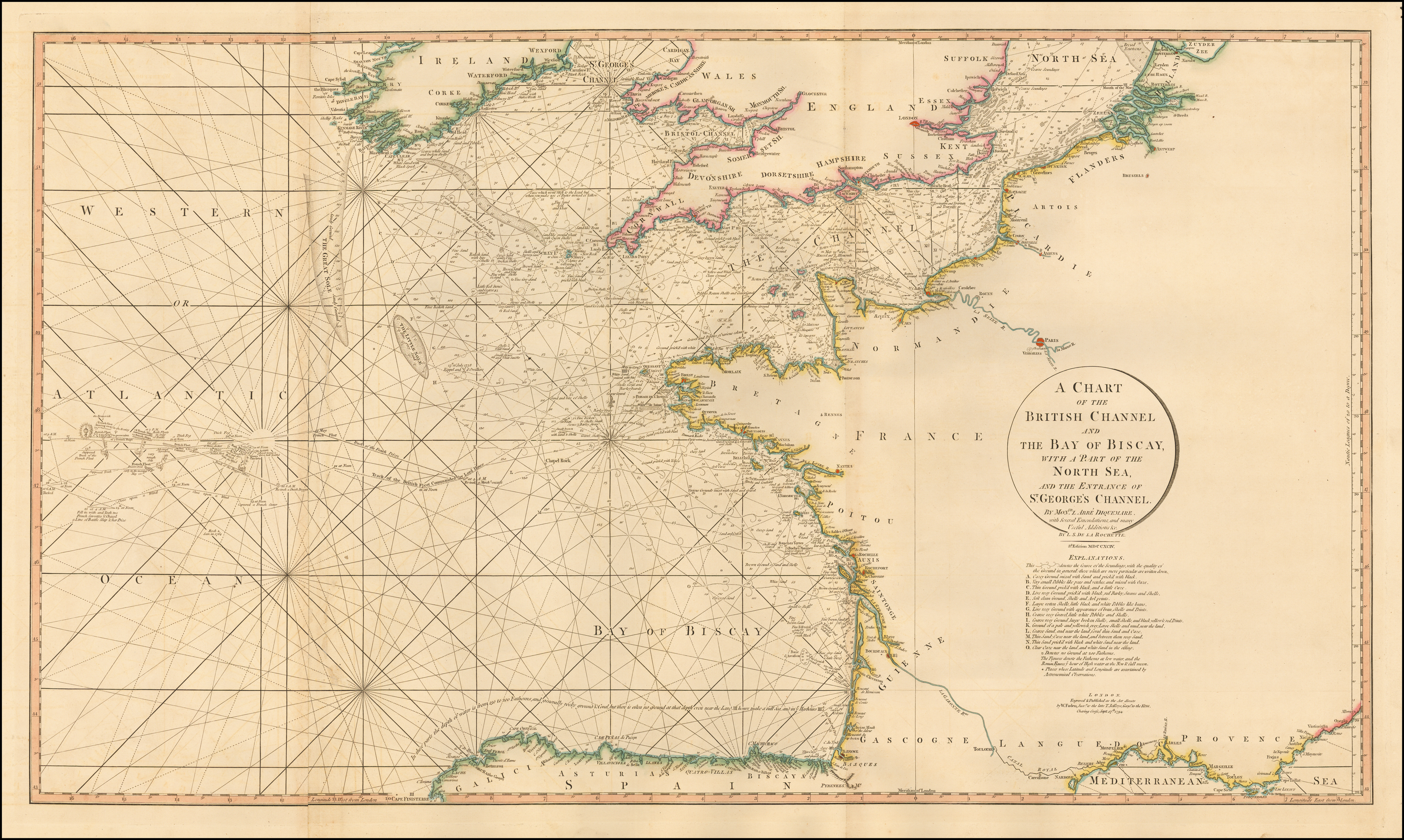 A Chart of the British Channel And The Bay of Biscay, with a ... on map of europe, map of normandy, map of caspian sea, map of strait of hormuz, map of gulf of bothnia, map of arctic ocean, map of england, map of celtic sea, map of wales, map of river thames, map of baltic sea, map of black sea, map of germany, map of moscow, map of rome, map of north sea, map of ural mountains, map of adriatic sea, map of bay of biscay, map of danube river,