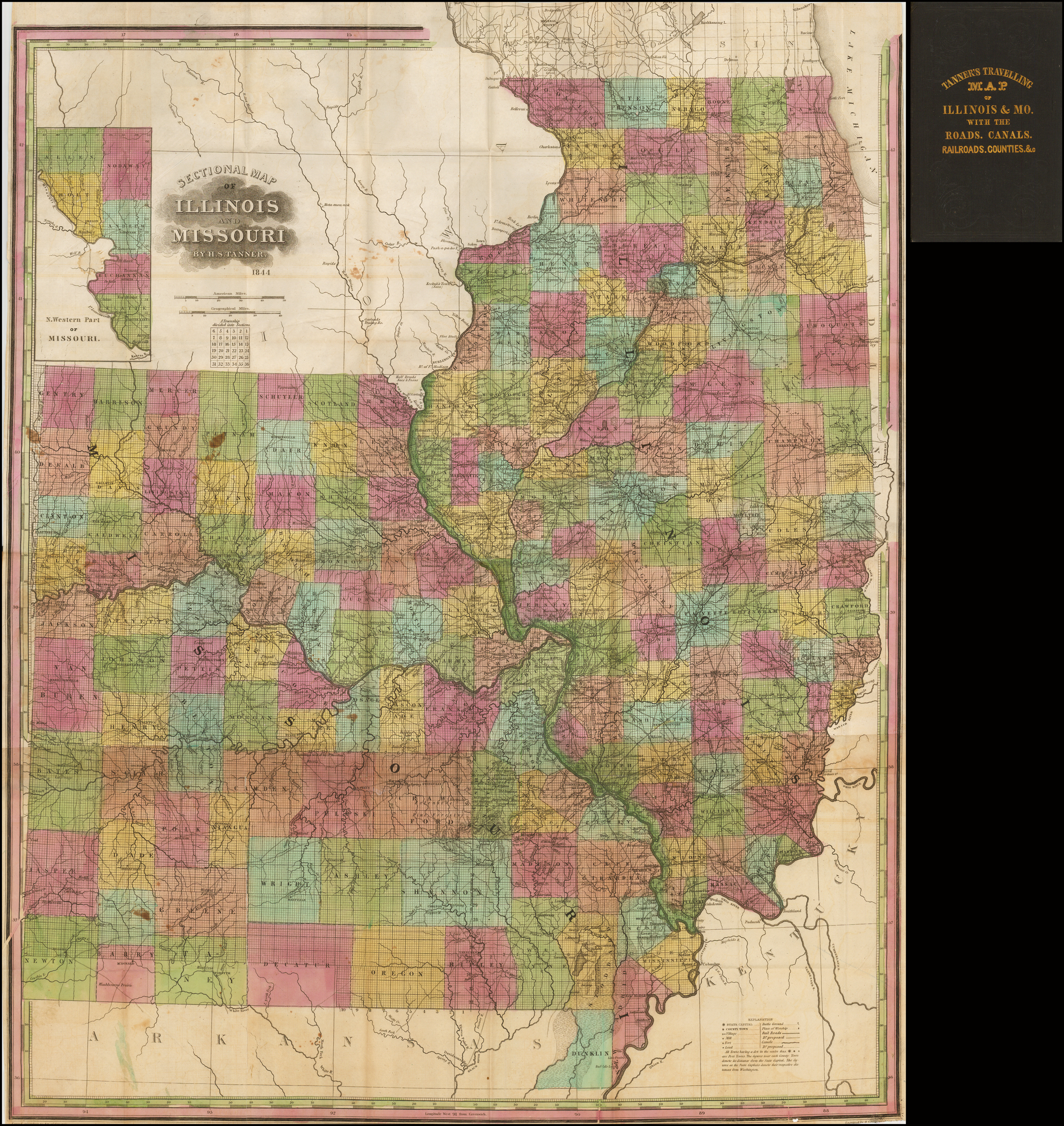 Sectional Map of Illinois and Missouri By H.S. Tanner ...