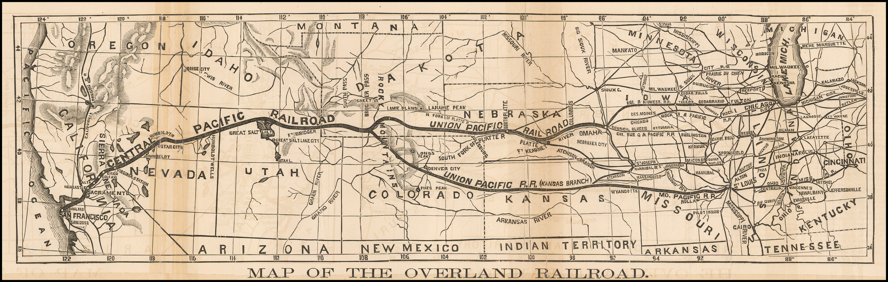 Map of the Overland Railroad (Early Central Pacific RR ... Union Pacific Railroad Map on great northern railroad map, louisiana & arkansas railroad map, chicago, burlington and quincy railroad map, chicago & northwestern railroad map, santa fe railroad map, rock island railroad map, railroad tracks in colorado map, kansas city southern railroad map, ohio railroad map, wabash railroad map, burlington northern railroad map, soo line railroad map, amtrak map, norfolk southern railroad map, illinois railway museum map, current united states railroad map, indiana harbor belt railroad map, new york central railroad map, b&o railroad map, galena and chicago union railroad map,