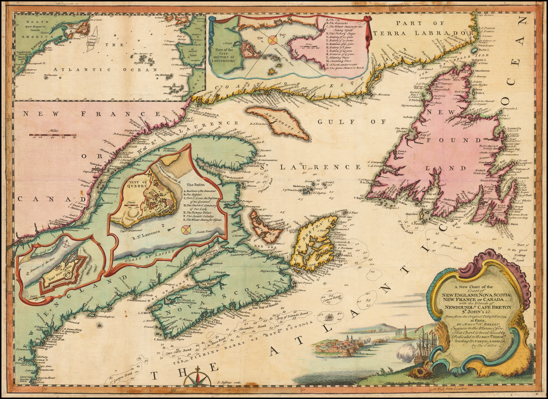 A New Chart Of New England Nova Scotia New France Or Canada With The Islands Of Newfoundland Cape Breton St John C Done From The Original Publish D In 1744 At Pars By