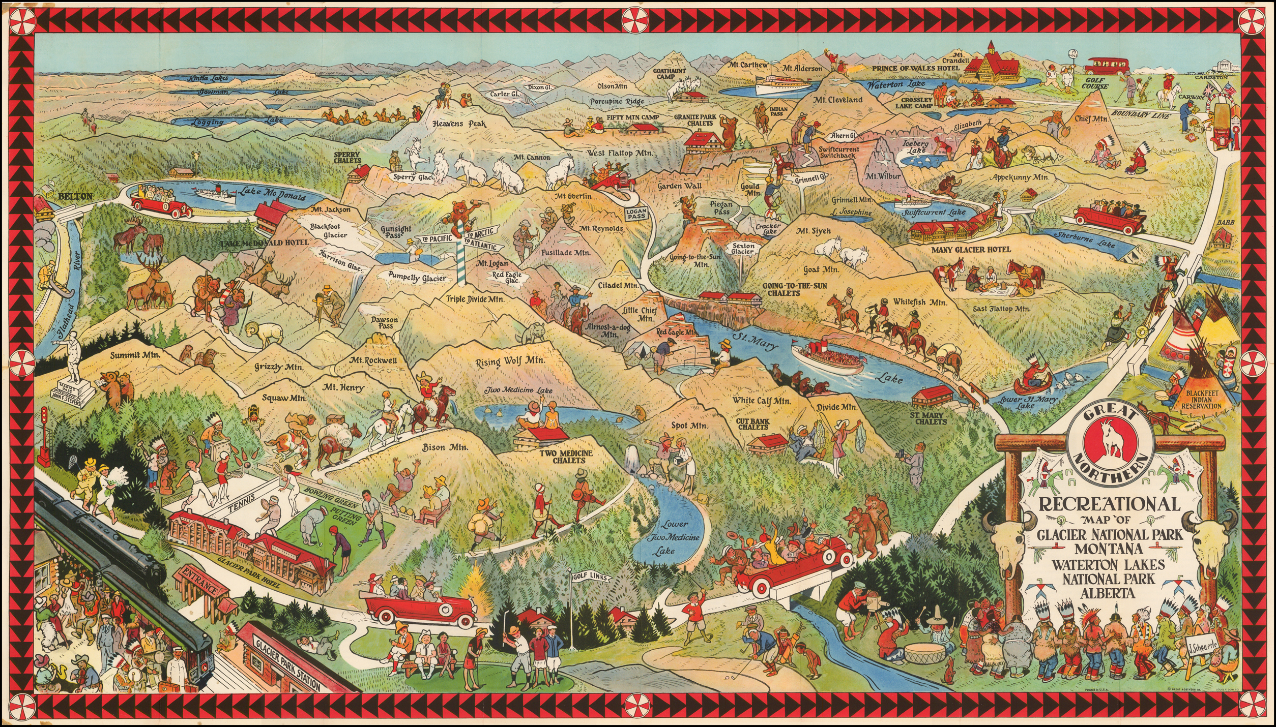 Recreational Map of Glacier National Park Montana Waterton ... on montana big sky resort map, montana billings map, montana on a map, montana hot springs map, montana california map, montana mile marker map, montana city map, montana red lodge map, montana united states map, montana ennis map, montana wildlife map, montana continental divide trail map, montana yellowstone map, montana idaho map, montana camping map, montana zip code map, montana helena map, montana great falls map, montana bozeman map,