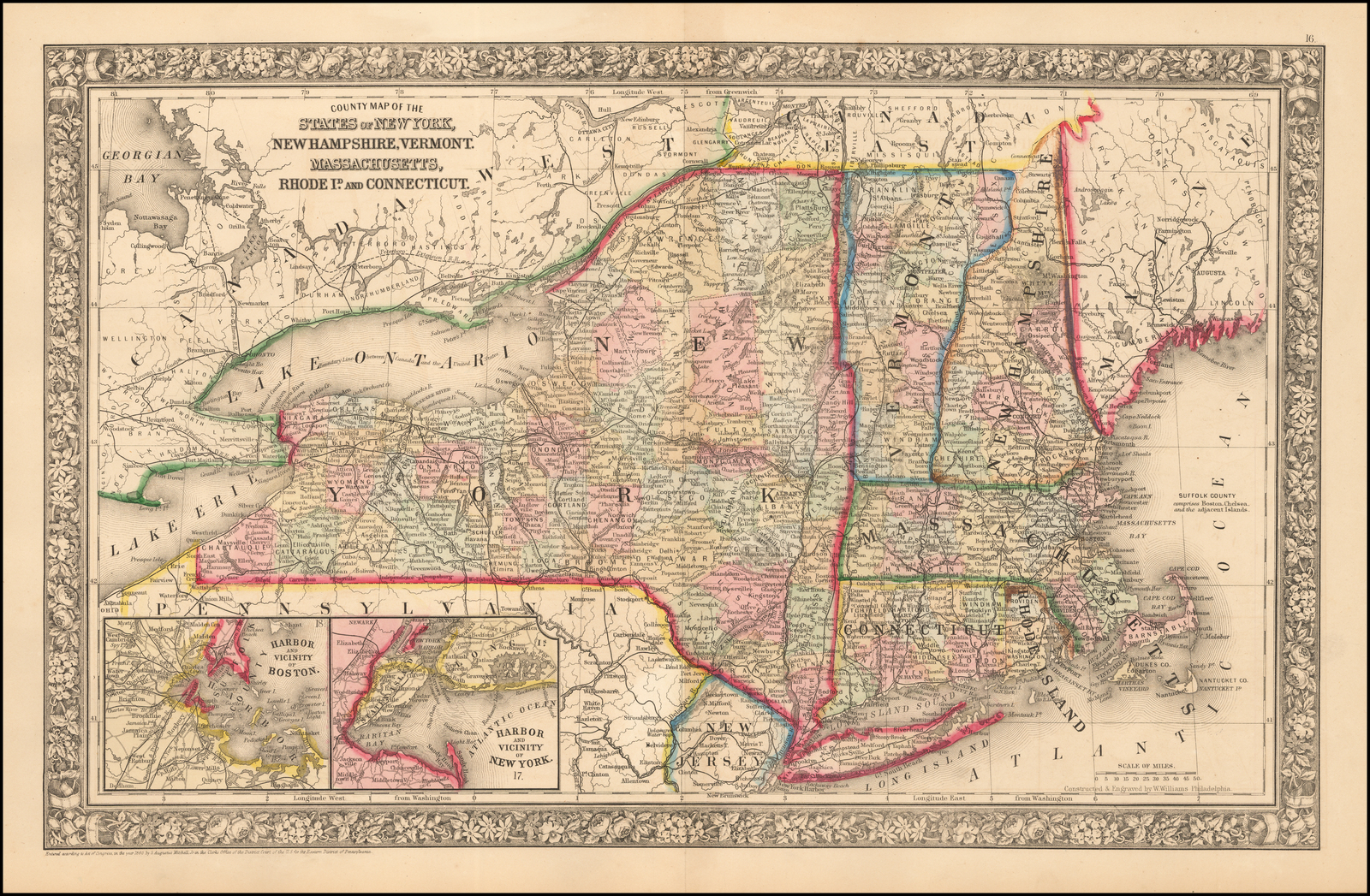 County Map Of The States Of New York  New Hampshire  Vermont  Massachusetts  Rhode Id  And