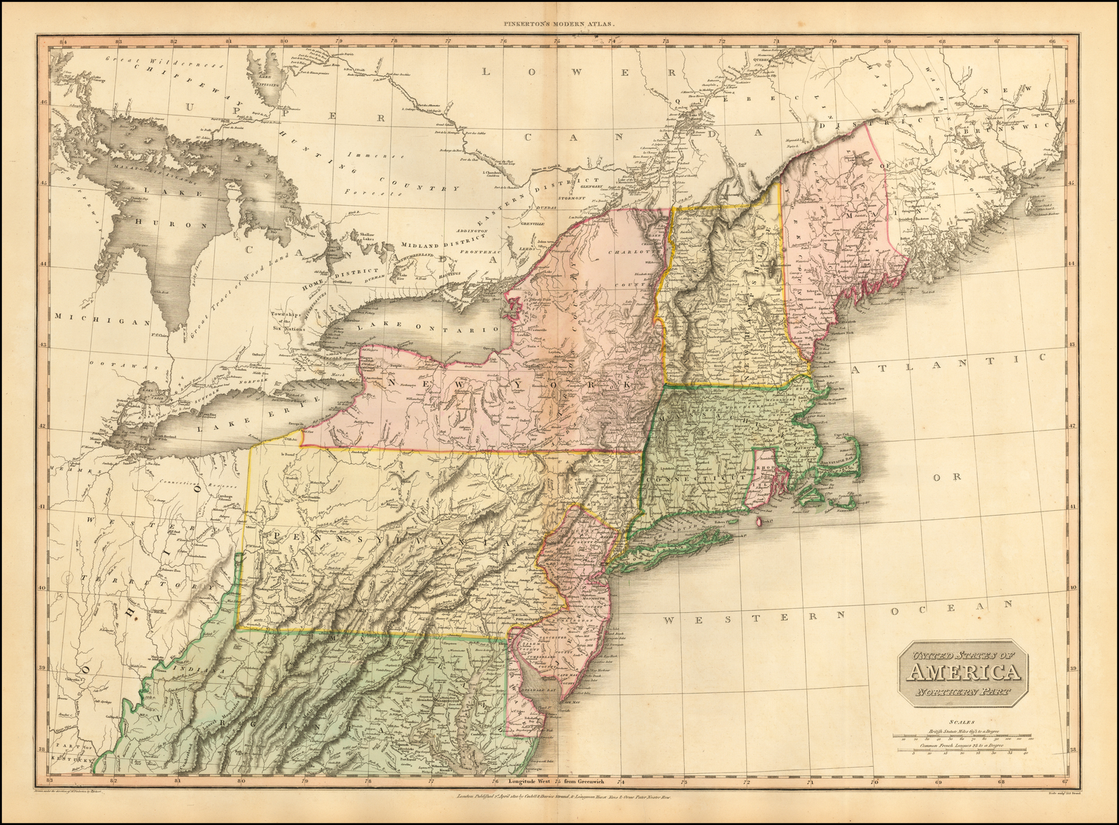 Image of: United States Of America Northern Part Barry Lawrence Ruderman Antique Maps Inc