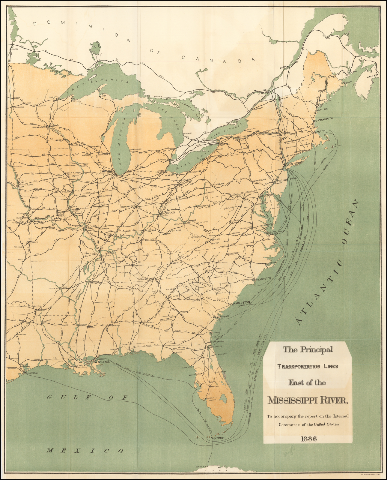 the principal transportation lines east of the mississippi river  to accompany the report on the