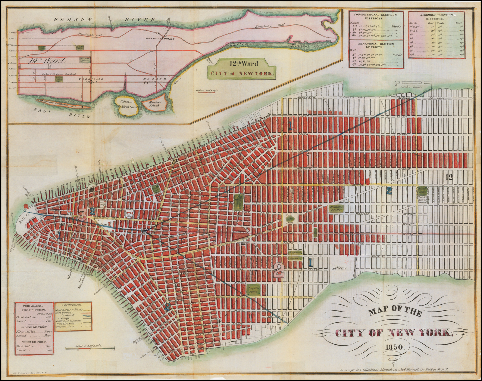 Map Of New York 1850.Map Of The City Of New York 1850 Barry Lawrence Ruderman Antique
