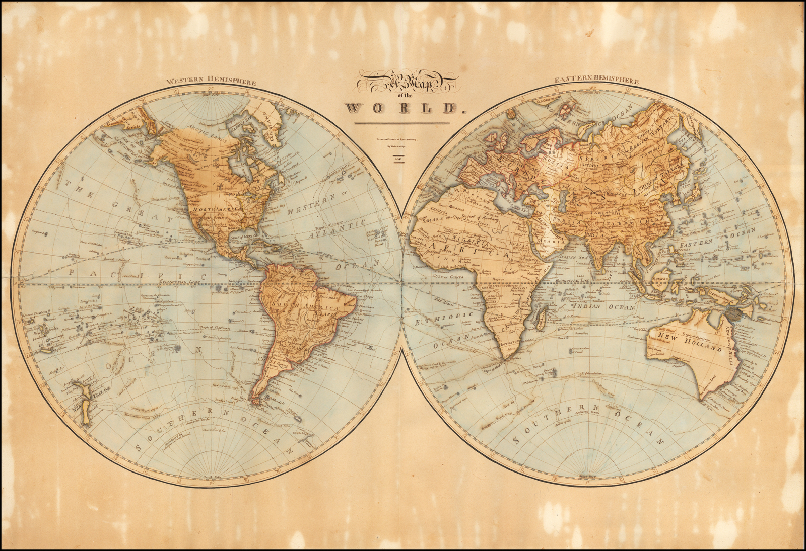 Hand Drawn World Map) A Map of the World. Drawn and Painted at Lynn ...