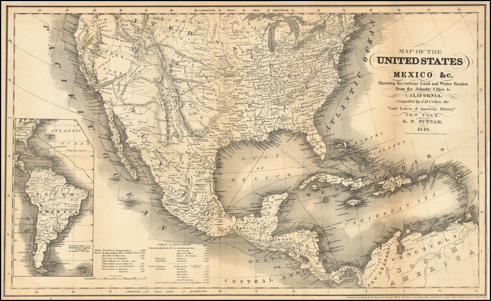 Map of the United States Mexico &c. Showing the various Land ...