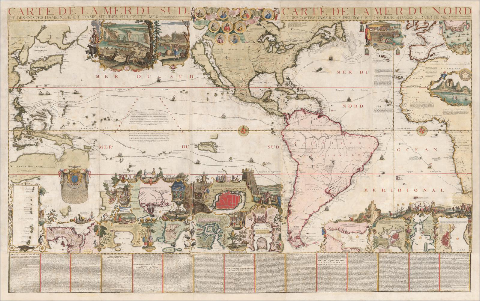 Carte Asie Mer.Carte De La Mer Du Sud Et Des Costes D Amerque Et D Asie