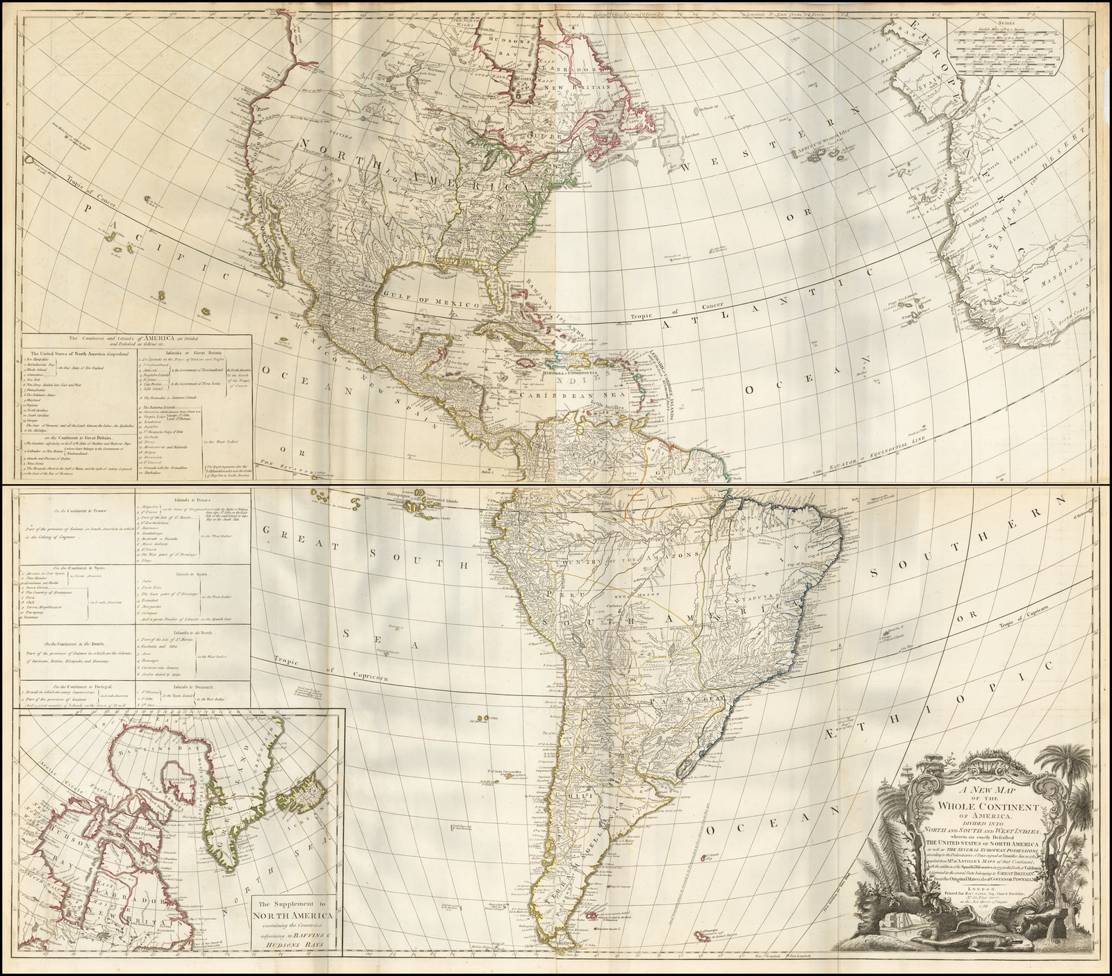 New Map Of America.A New Map Of The Whole Continent Of America Divided Into North And