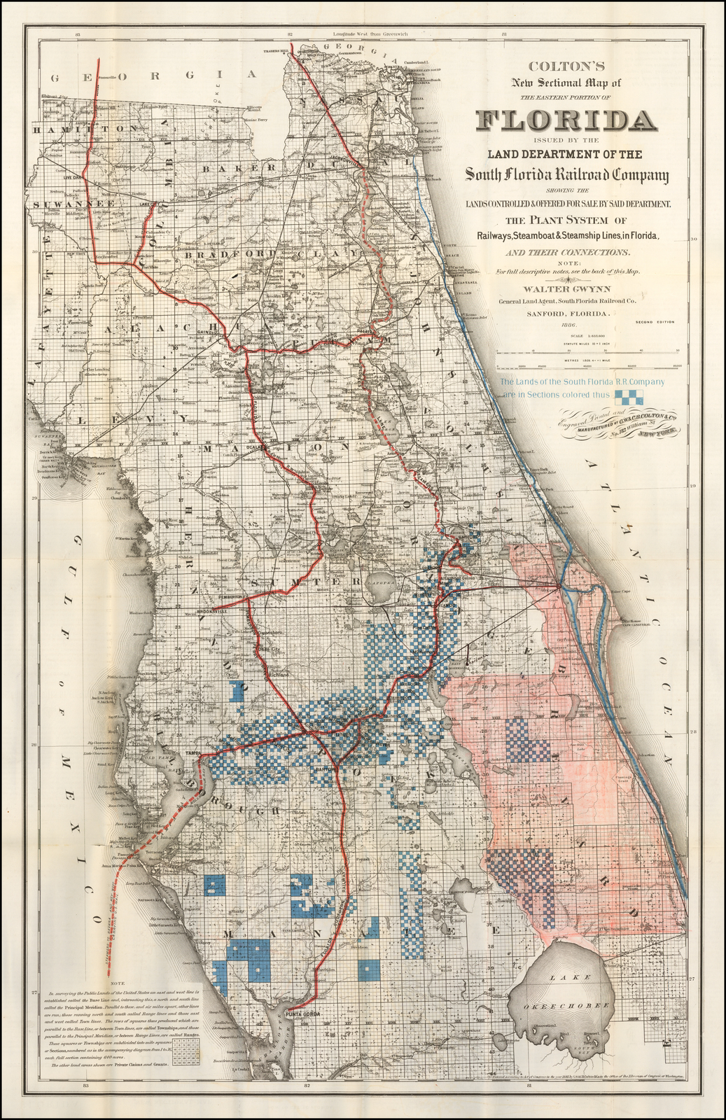 Full Map Of Florida.Colton S New Sectional Map Of The Eastern Portion Of Florida Issued