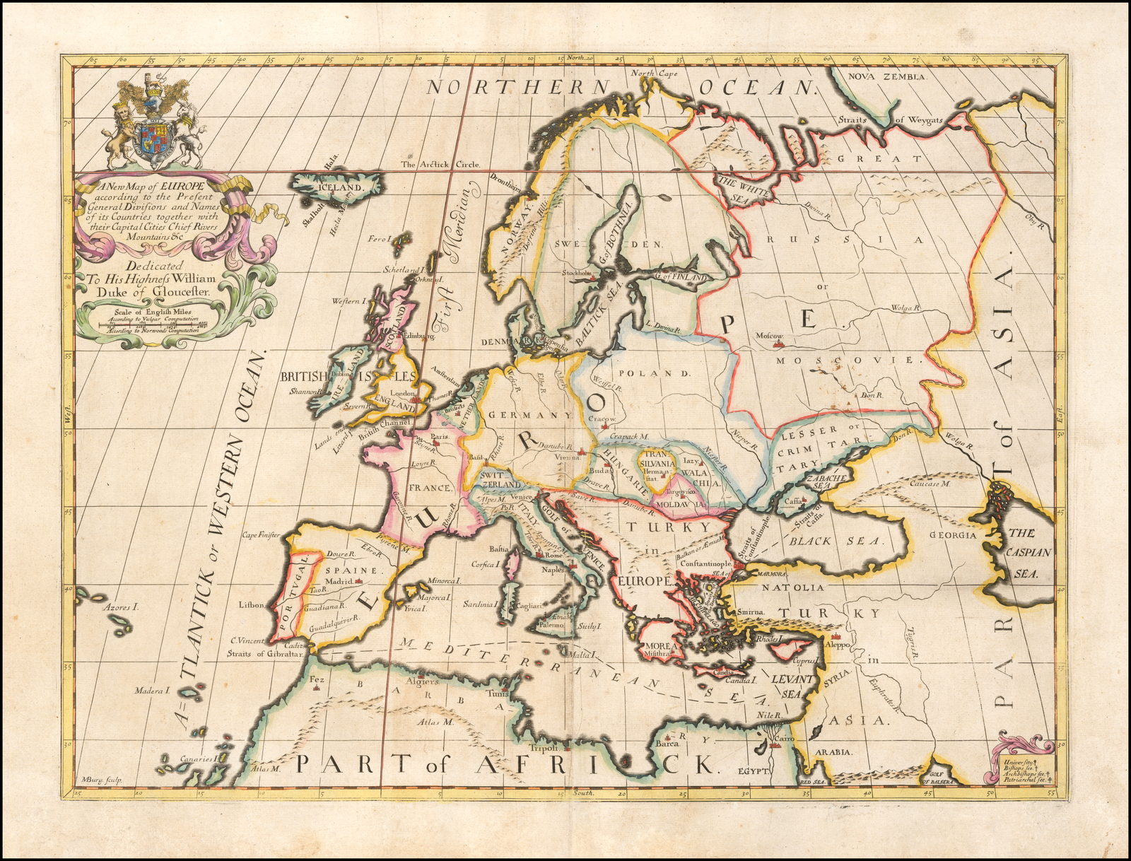 Picture of: A New Map Of Europe According To The Present General Divisions And Names Capital Cities Chief Rivers Mountains C Dedicated To His Highness William Duke Of Glocester Barry Lawrence Ruderman Antique Maps Inc