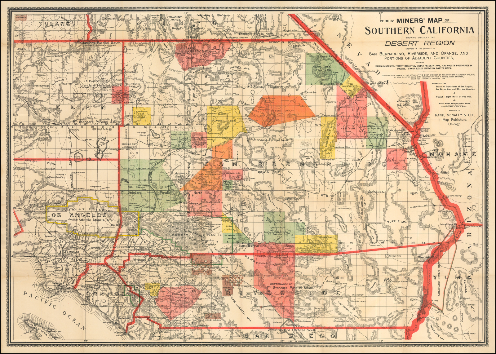 Perris Miners Map Of Southern California Showing Specially The Desert Region Embraced In The Counties Of San Bernardino Riverside And Orange And Portions Of Adjacent Counties Showing Mining Districts Forest Reserves Indian