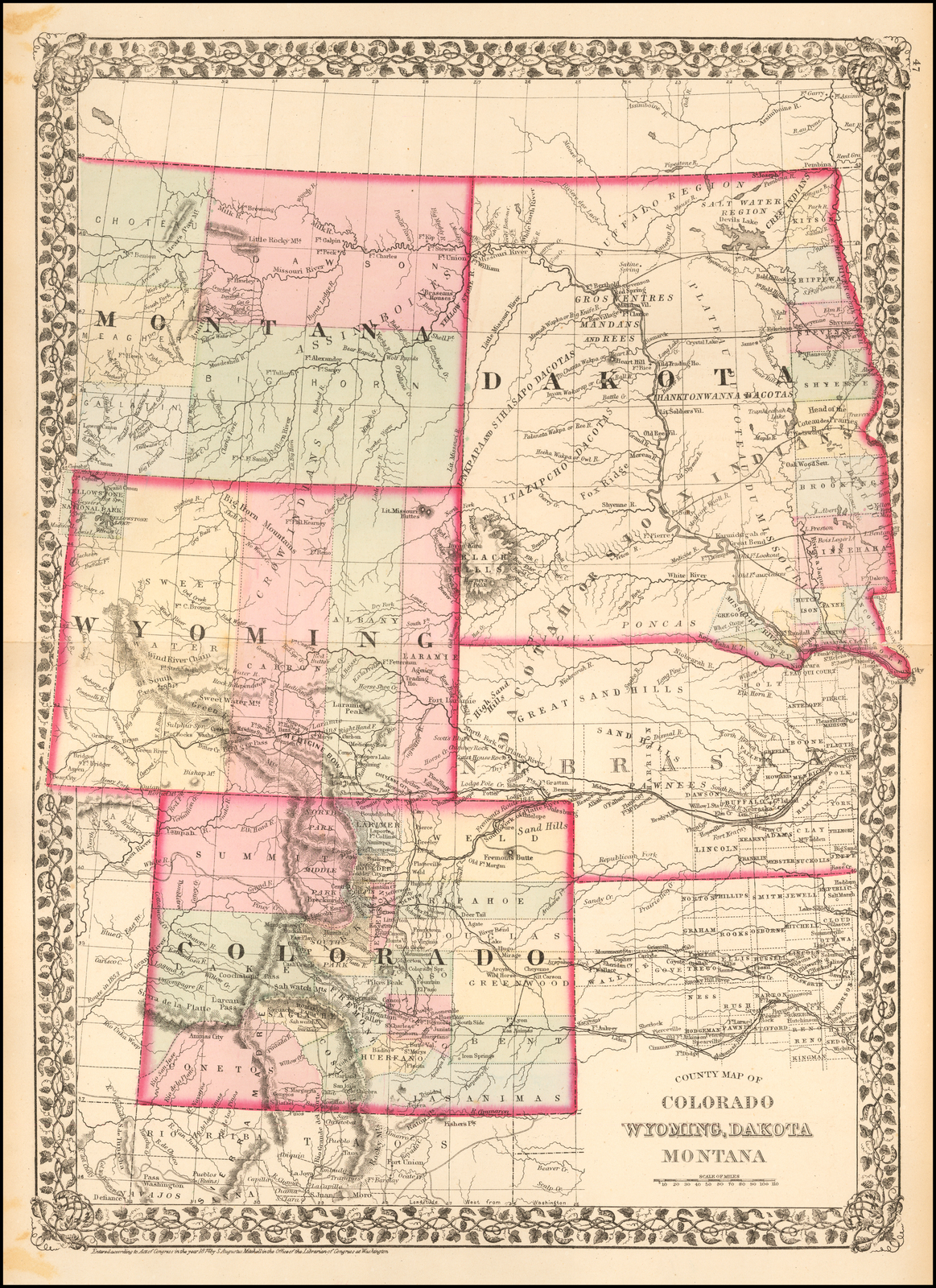 County Map of Colorado, Wyoming, Dakota Montana - Barry ...