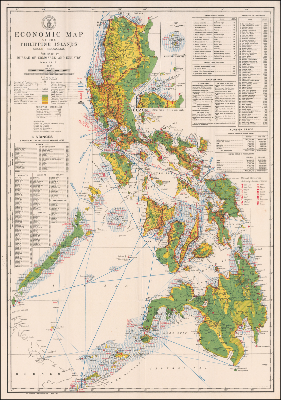 Economic Map of the Philippine Islands Scale 1:2,000,000 Published ...