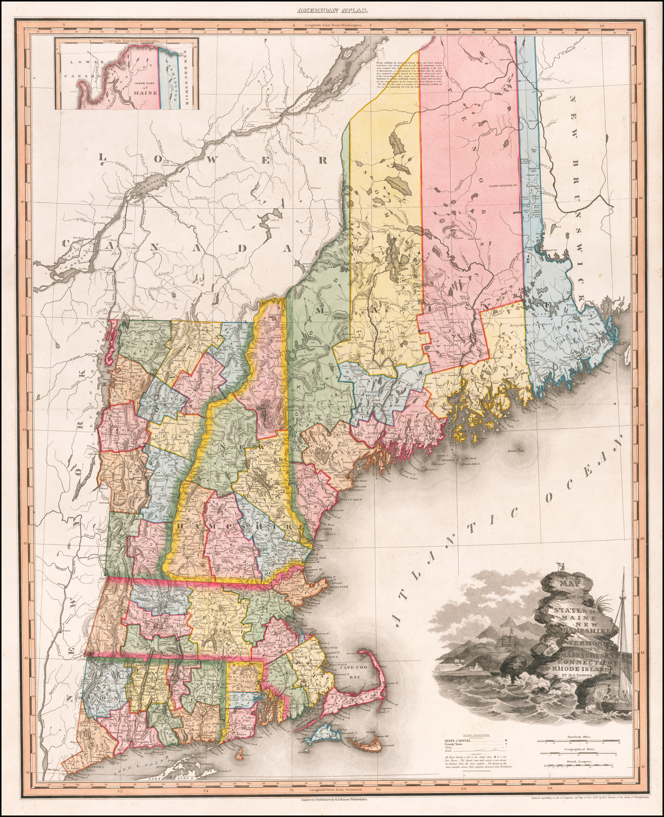Map of the States of Maine, New Hampshire, Vermont ...