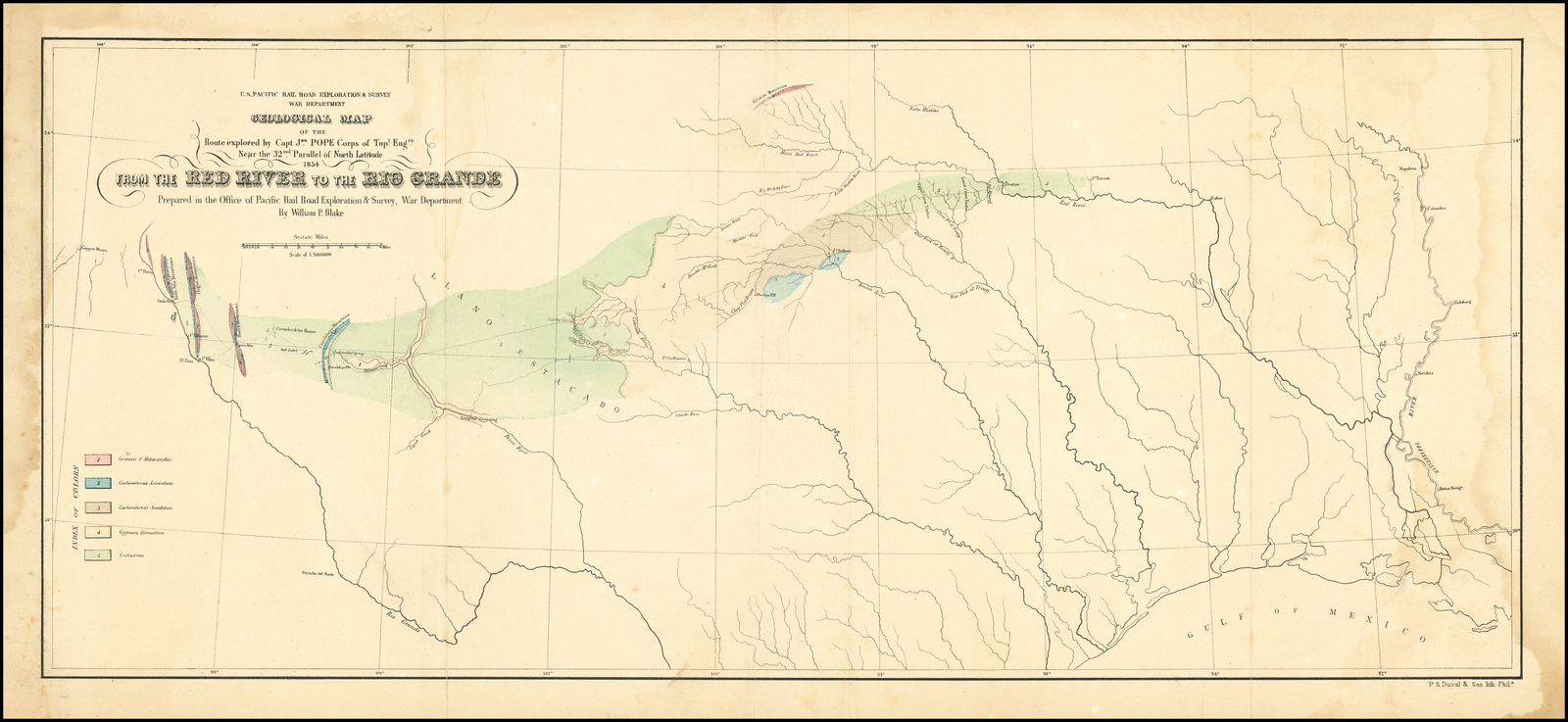Geological Map of the Route explored by Capt. Jno. Pope ...