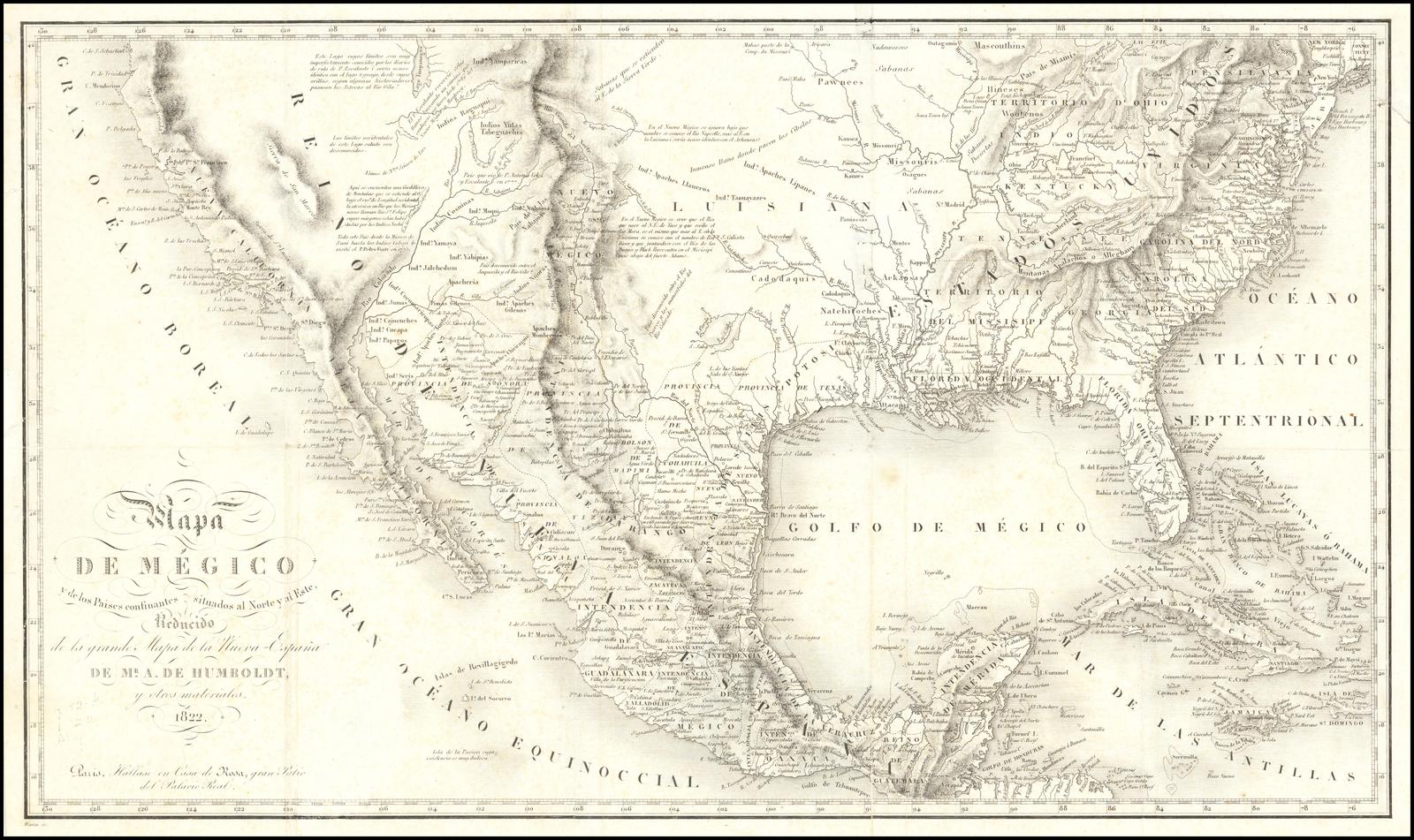 Map De Megico Y De Los Paises Confinanes Situados Al Norte Y Al Este Reducido De La Grande Mapa De La Nueva Espana De Mr A De Humboldt Y Otros Materiales 1822