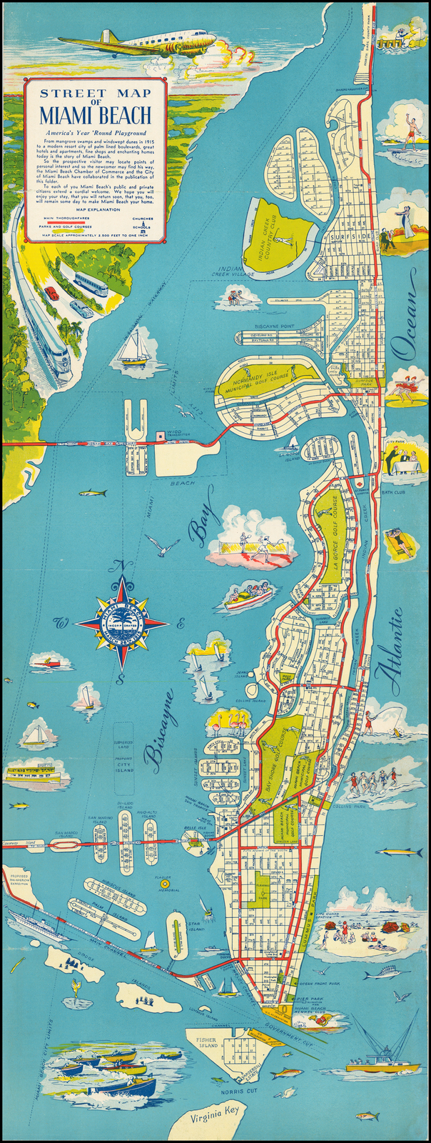 street map of miami beach america's year round playground