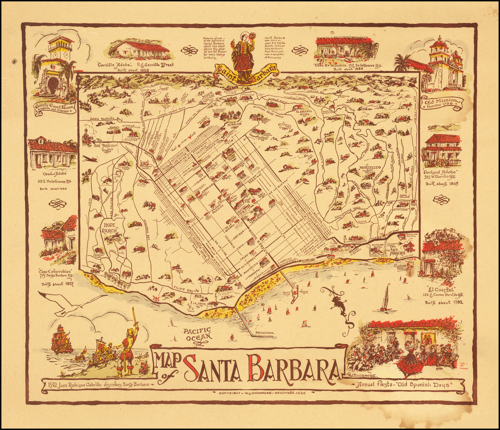 Map of Santa Barbara - Barry Lawrence Ruderman Antique Maps Inc. Santa Barbara State Street Map on wichita state street map, oregon state street map, ohio state street map, sb street map, washington state street map, new york state street map, chicago state street map, boston state street map, madison state street map, california county map,