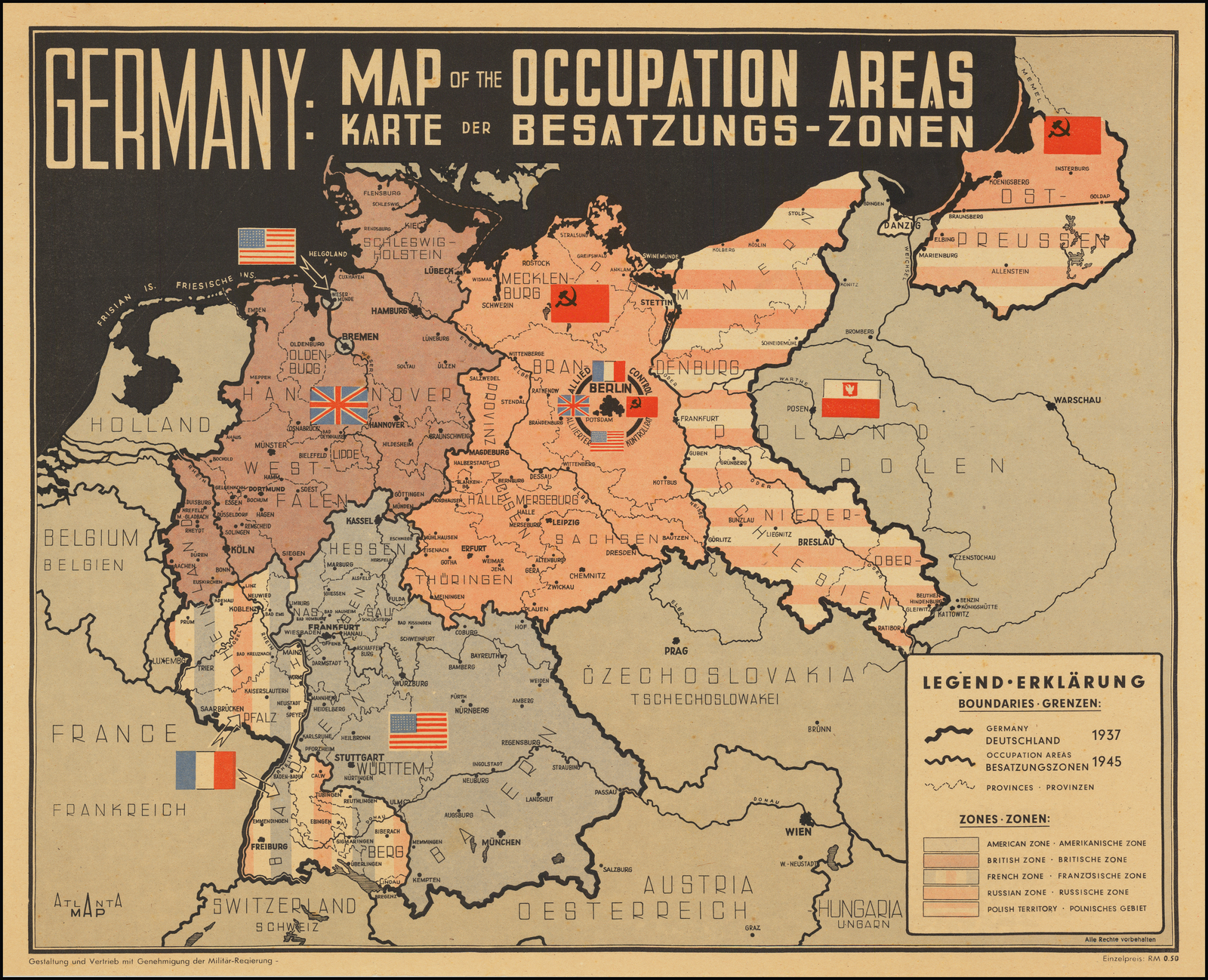 Germany: Map of the Occupation Areas | Karte Der Besatzungs ...