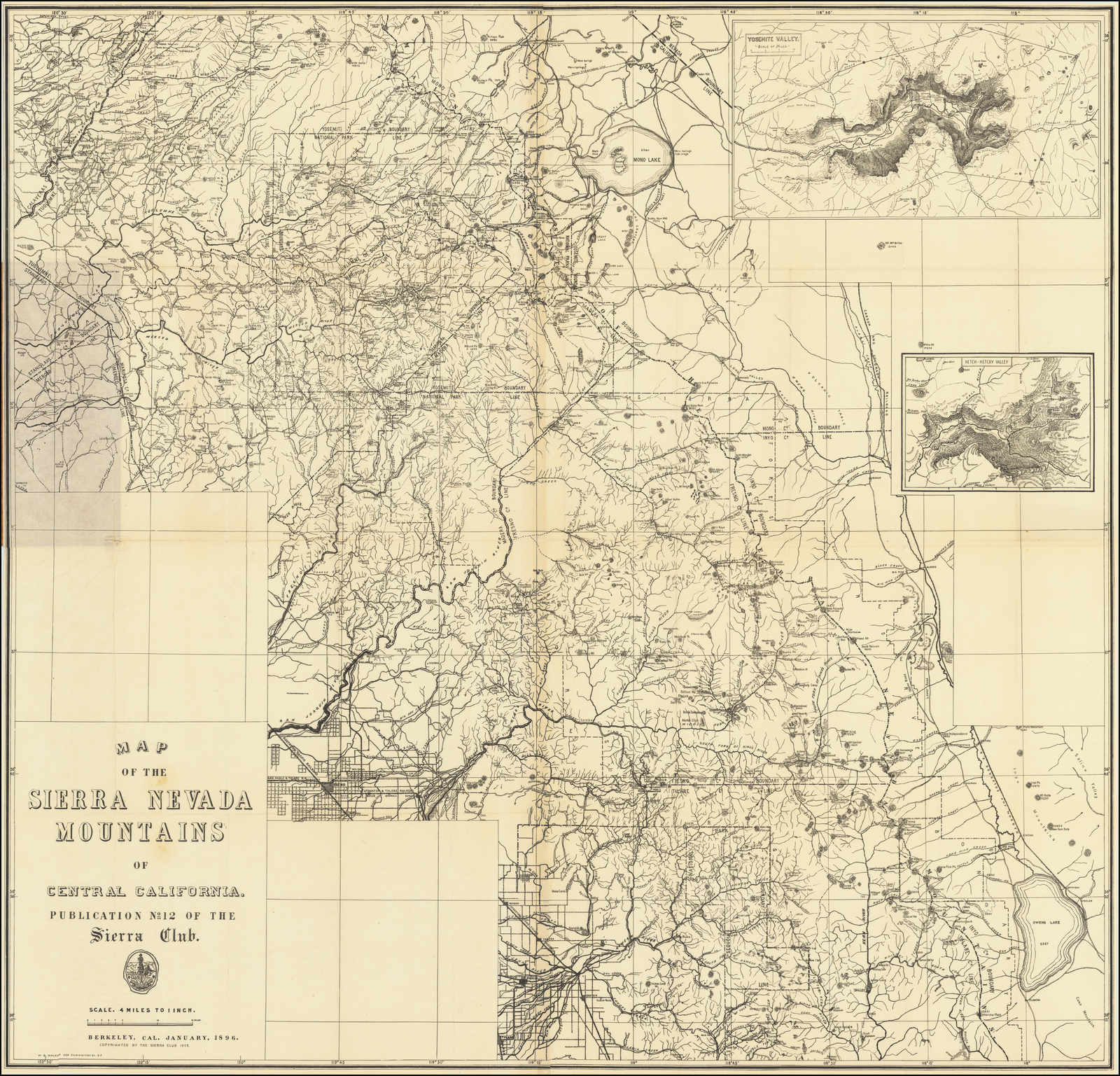 Picture of: Map Of The Sierra Nevada Mountains Of Central California Publication No 12 Of The Sierra Club January 1896 Barry Lawrence Ruderman Antique Maps Inc