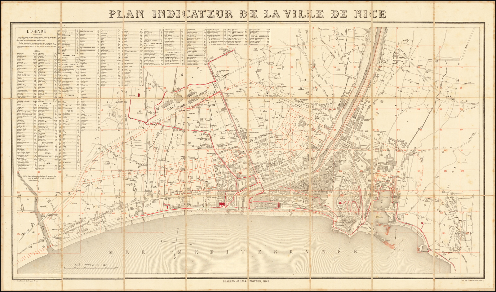 Plan Indicateur De La Ville De Nice Barry Lawrence Ruderman Antique Maps Inc