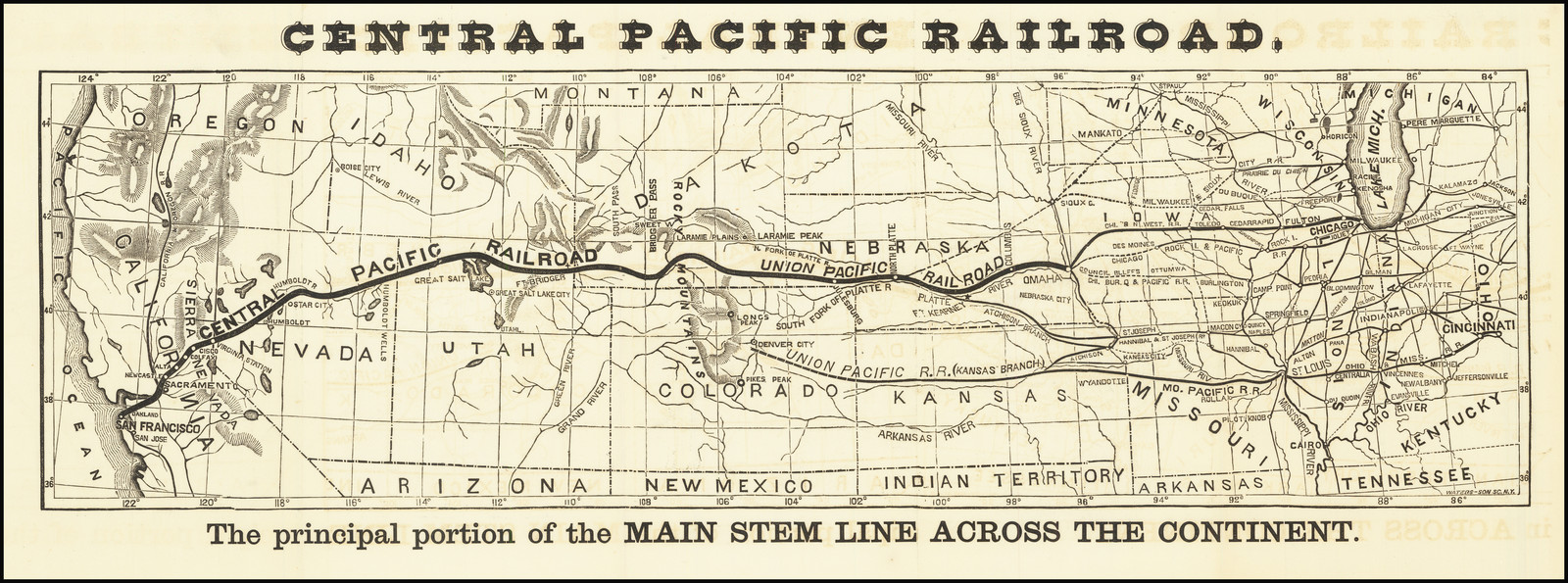 map of central pacific railroad Central Pacific Railroad With Pamphlet Railroad Communication map of central pacific railroad