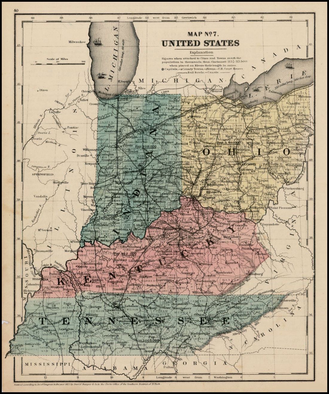 Map No. 7 [Indiana, Ohio, Kentucky, Tennessee, Lake Michigan ... Kentucky Tennessee Map on northeastern tennessee map, wears valley tennessee map, paducah tennessee map, south carolina tennessee map, london tennessee map, new mexico tennessee map, whites creek tennessee map, dallas tennessee map, portland tennessee map, tennessee county map, dyersville tennessee map, austin tennessee map, wyoming tennessee map, tennessee state map, beech grove tennessee map, bryson city tennessee map, belle meade tennessee map, somerset tennessee map, mayfield tennessee map, marion tennessee map,