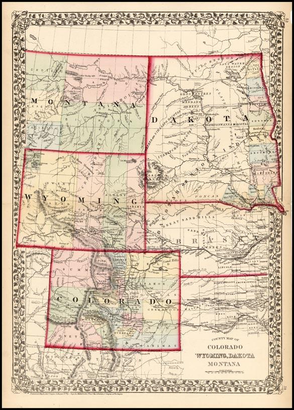 County Map of Colorado, Wyoming, Dakota Montana - Barry ...