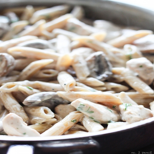 One Pot Portobello Mushroom Chicken Alfredo