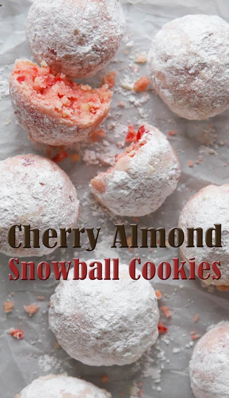 Cherry Almond Snowball Cookies