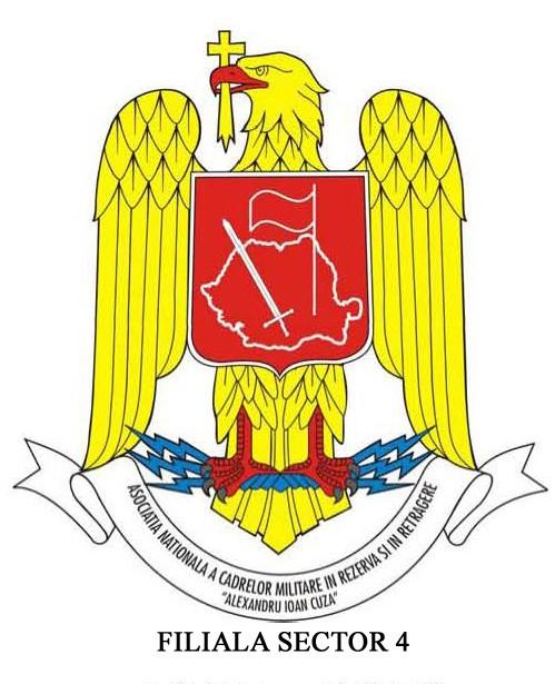 """Filiala Sector 4 - Asociația Naționala a Cadrelor Militare în Rezerva și în Retragere (A.N.C.M.R.R.) """"Al. I. Cuza""""  logo"""