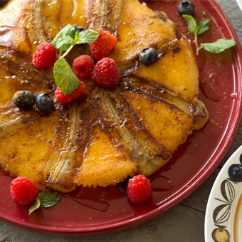 一見豪華デザート「チーズの羽根つきバナナ」
