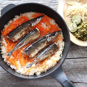 秋を炊き込む「さんま高菜飯」