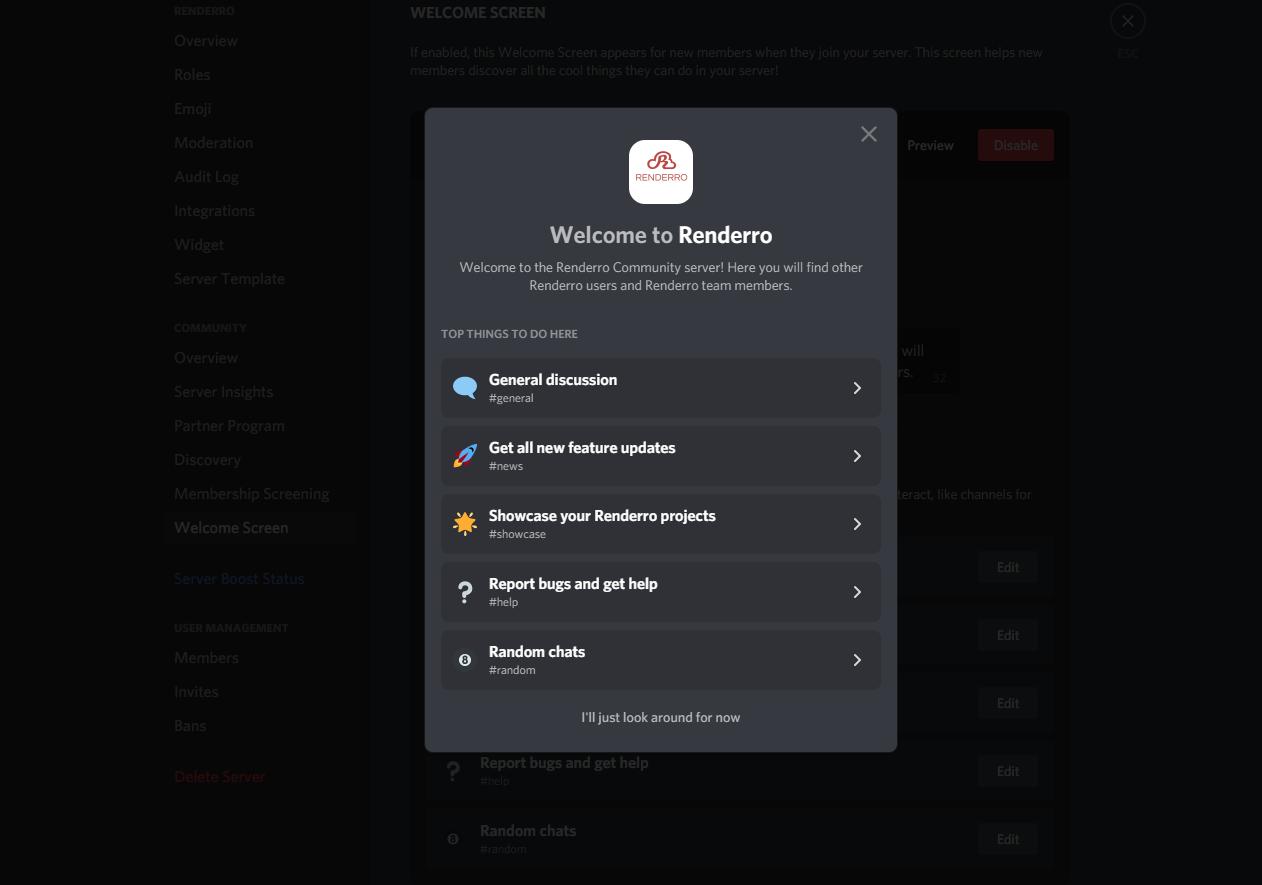 Renderro Discord Community Welcome