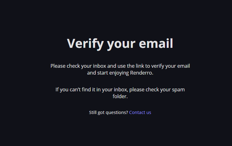 Verify your email screen
