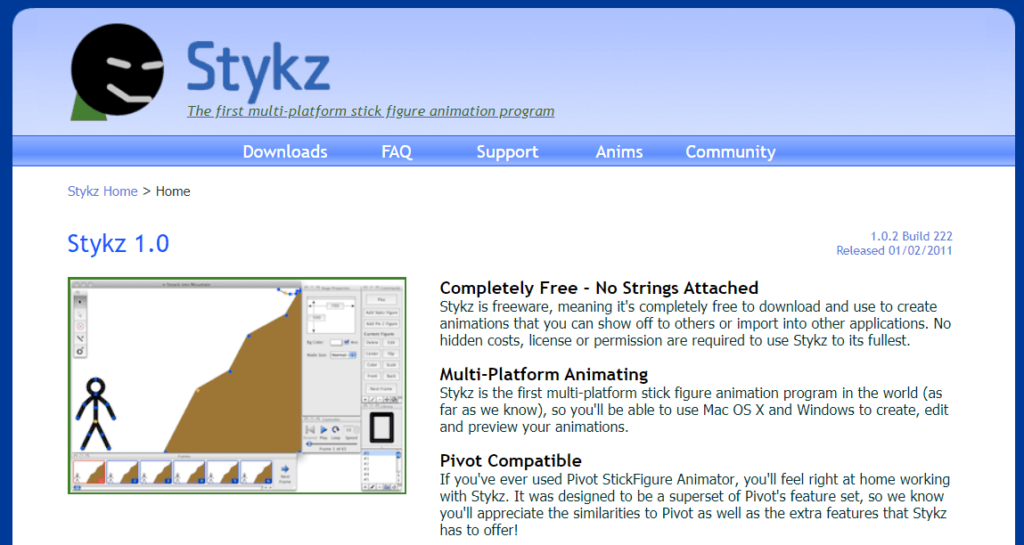Stykz free animation software