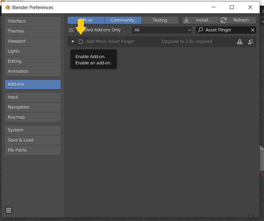Blender enable addon