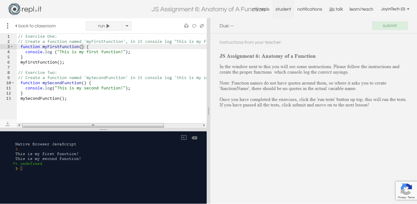 Repl it - JS Assignment 6: Anatomy of A Function