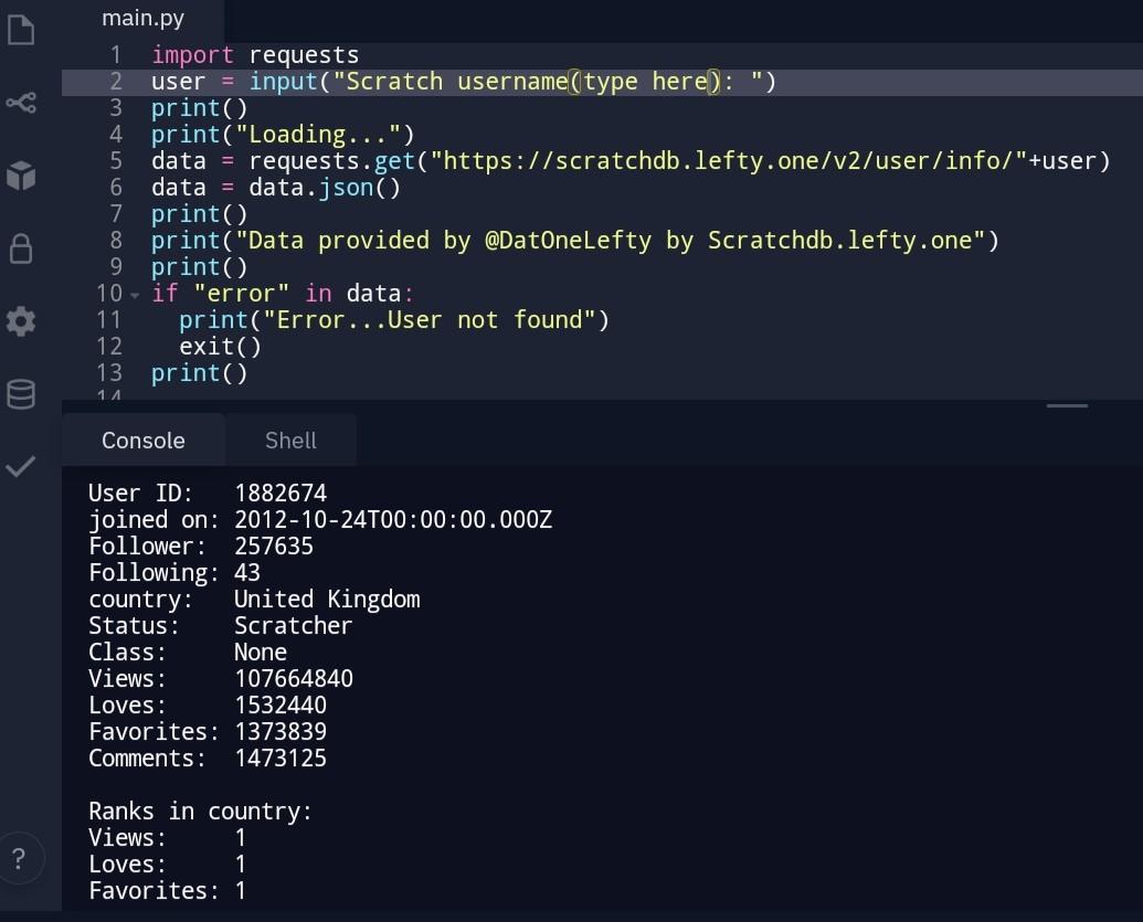 Scratch user statistics API reader