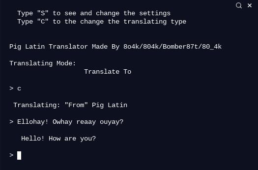 Pig Latin Translator