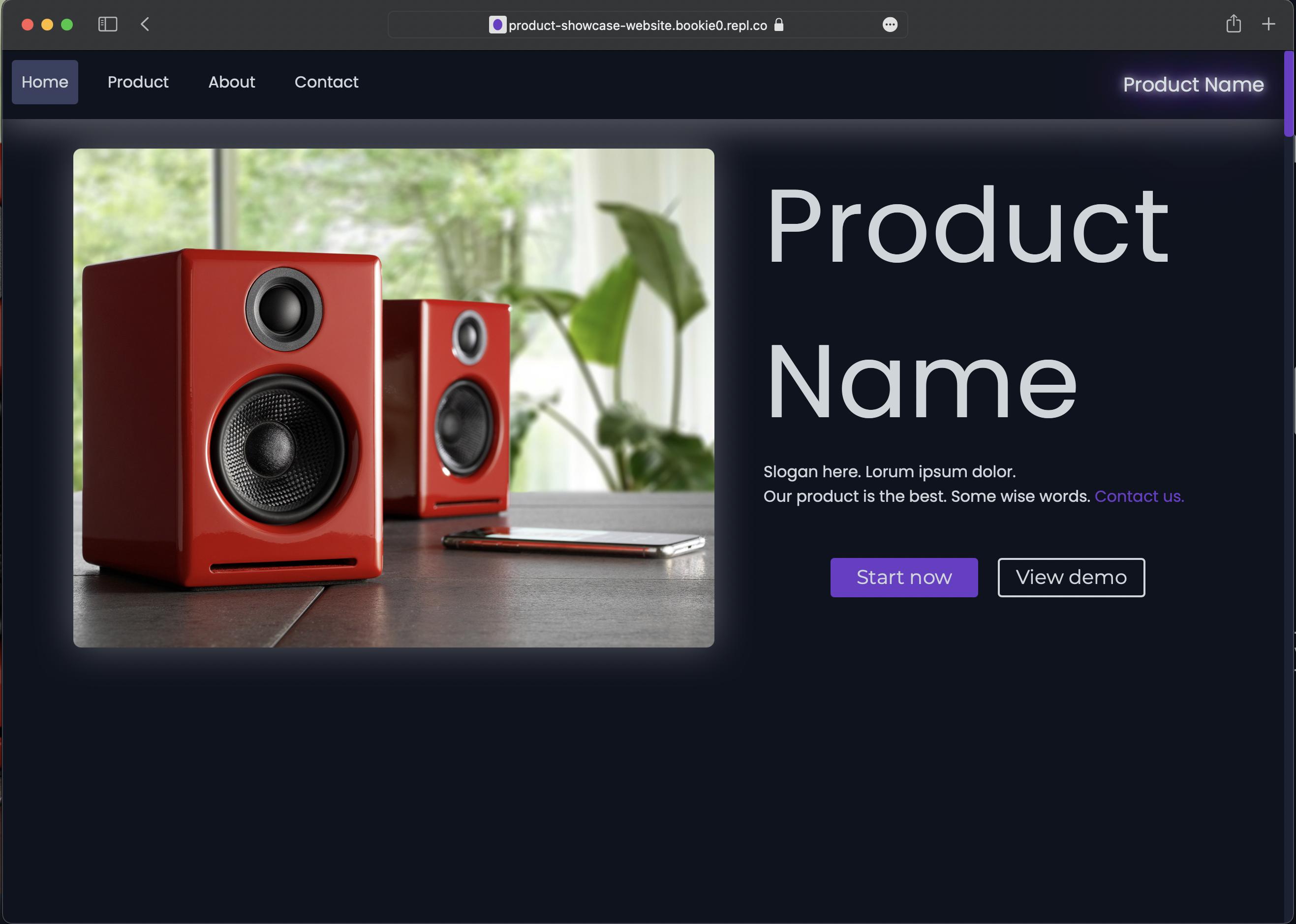 Product Showcase Website