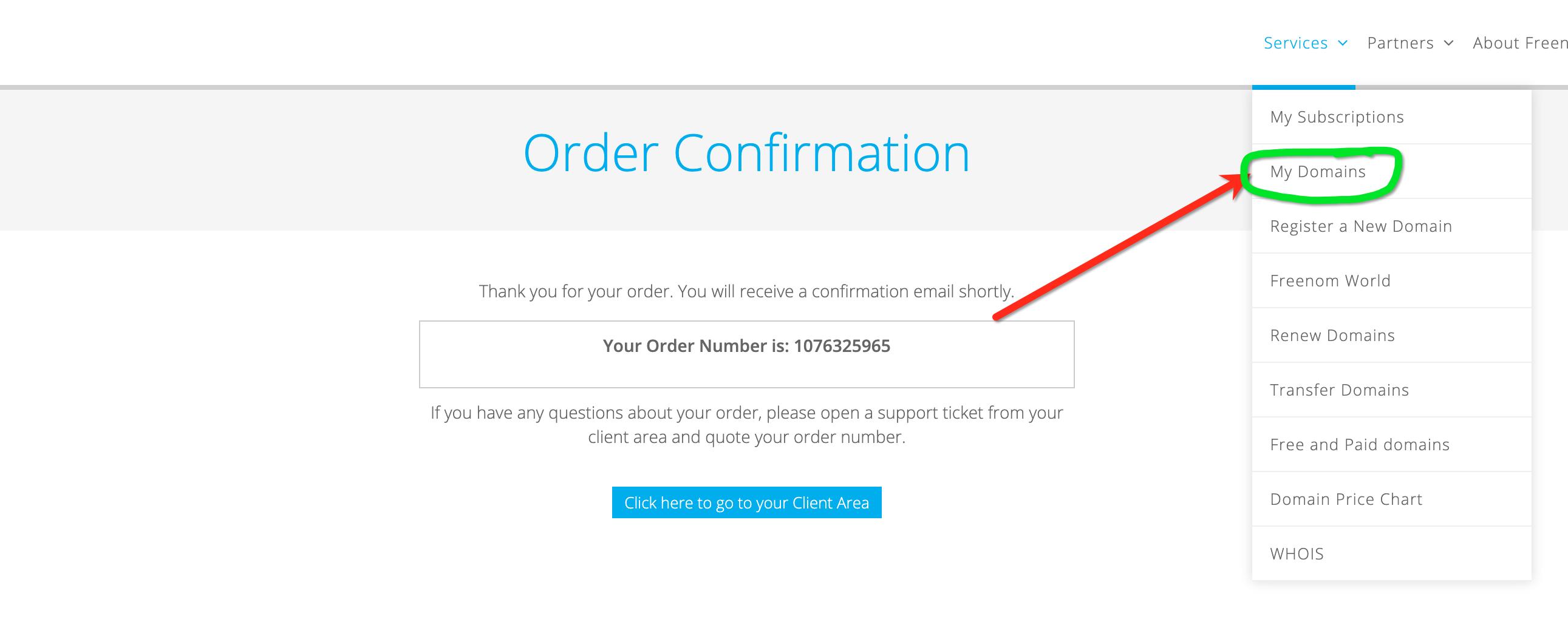 Freenom Order Confirmation